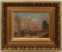 19TH C ITALIAN PIAZZA SCENE OIL ON BOARD