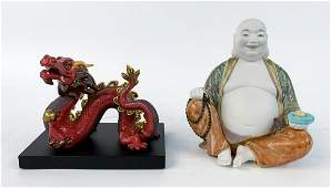 TWO LLADRO PORCELAIN FIGURES DRAGON  BUDDHA