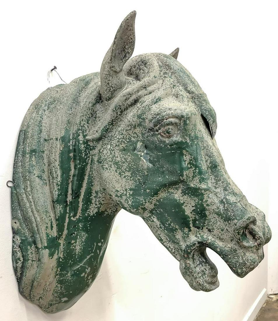 20TH C., PATINATED TIN ARCHITECTURAL HORSE HEAD