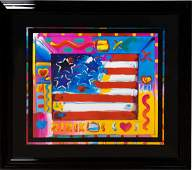 """PETER MAX """"FLAG WITH HEART II"""" SERIGRAPH, C. 2002"""