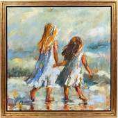 SUSIE PRYOR A DAY ON THE BEACH LARGE OIL