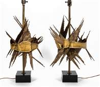 PAIR, MCM BRUTALIST STYLE MIXED METAL TABLE LAMPS