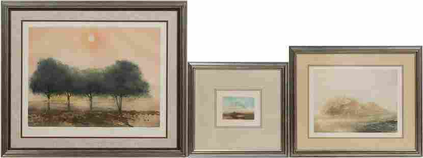 THREE KAIKO MOTI LANDSCAPE COLOR ETCHINGS, FRAMED