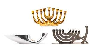 COLLECTION OF THREE MODERNIST METAL MENORAHS