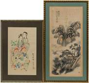 TWO CHINESE PAINTINGS ON SILK FIGURAL  LANDSCAPE