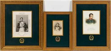 THREE NAPOLEON ENGRAVINGS FRAMED AS A SET