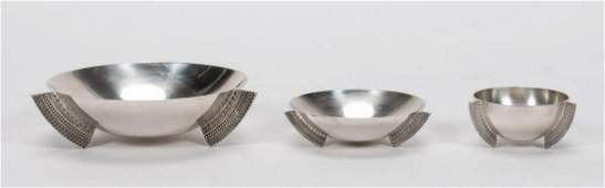 THREE, CHRISTOFLE ART DECO STYLE FOOTED BOWLS
