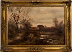 19TH C. ENGLISH COTTAGE SCENE, ROBERT LESLIE