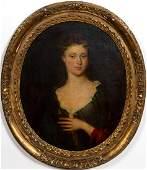 ENGLISH 19TH C. PORTRAIT OF A LADY, GILTWOOD FRAME
