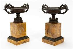 PAIR, CHARLES X STYLE BRONZE MARBLE TAZZE