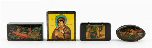 FOUR HAND PAINTED RUSSIAN LACQUER TRINKET BOXES