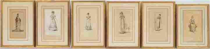 SIX EARLY 19TH C WOMEN'S FASHION PRINTS, FRAMED