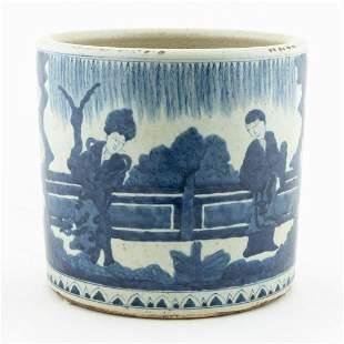 CHINESE BLUE AND WHITE KANGXI STYLE BRUSH POT