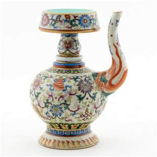 CHINESE TWO PART FLORAL MOTIF WINE EWER
