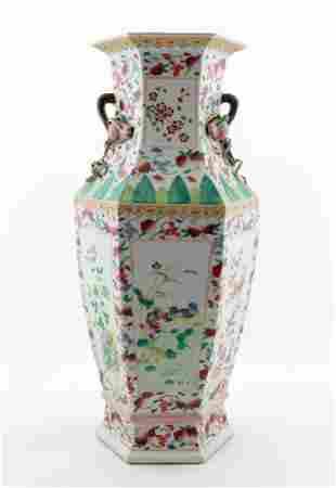 CHINESE HEXAGONAL FLORAL & FRUIT MOTIF VASE