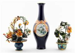 3PC CHINESE GROUP ONE VASE  TWO JADE FLOWERS