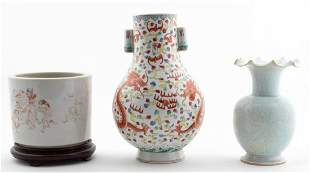 3PC CHINESE GROUP, TWO VASES & ONE BRUSH POT