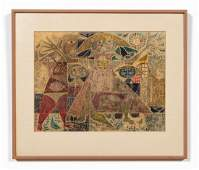 REX CLAWSON, ABSTRACTED FIGURES, MIXED MEDIA, 1951
