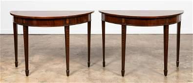 PAIR OF HEPPLEWHITE STYLE MAHOGANY DEMILUNE TABLES