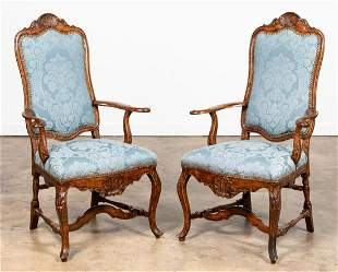 PAIR ITALIAN ROCOCO STYLE SHELL CARVED FAUTEUILS