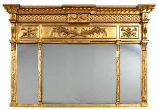 NEOCLASSICAL STYLE GILTWOOD OVERMANTEL MIRROR