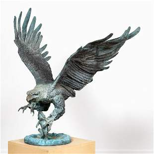 MONUMENTAL BRONZE  EAGLE SCULPTURE, MARIO NARDINI