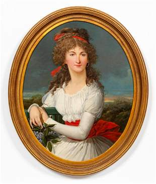 19TH C, PORTRAIT, LADY IN WHITE DRESS AND RED SASH