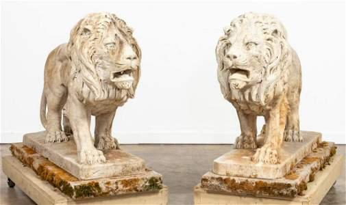 PAIR, MONUMENTAL LION MARBLE OUTDOOR SCULPTURES