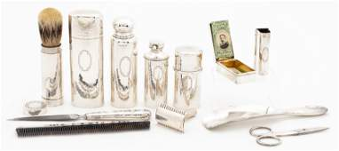 TIFFANY STERLING SILVER TOILETRY SET, LEATHER CASE