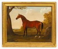 19TH C, EQUESTRIAN PORTRAIT, GILTWOOD FRAME