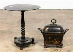 2PC SET BLACK CHINOISERIE TABLE  COAL SCUTTLE