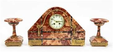 THREE PIECE ART DECO MARBLE CLOCK  GARNITURE SET