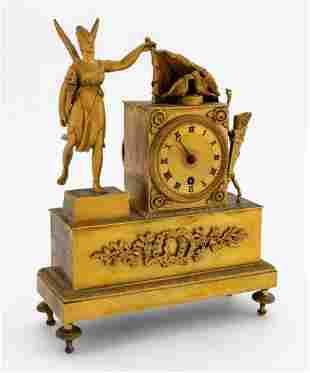 19TH C. EMPIRE BRONZE DORE FIGURAL MANTLE CLOCK