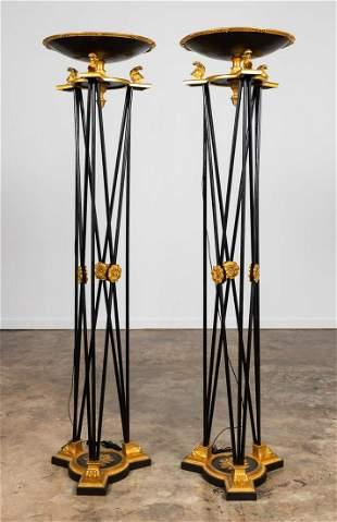 PR. MONUMENTAL BLACK & GILT TORCHIERE FLOOR LAMPS