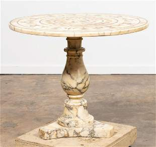 ITALIAN ROUND INLAID MARBLE OCCASIONAL TABLE