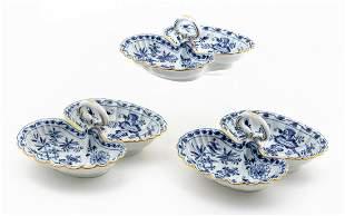 3 PCS, MEISSEN BLUE ONION SERVING DISHES