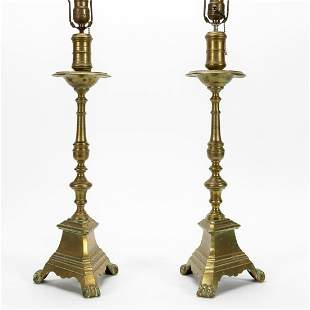 PAIR, HEAVY BRASS CANDLESTICK LAMPS