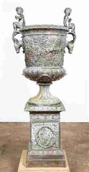 MONUMENTAL CONTINENTAL LEAD GARDEN URN ON STAND