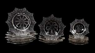 13 PCS, 19TH C ETCHED CRYSTAL PLATES, 4 SIZES