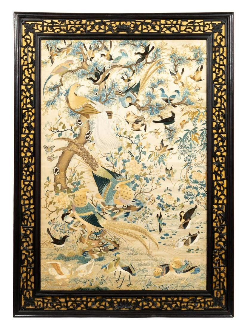 CHINESE EMBROIDERY OF BIRDS & BLOOMING TREE SCENE
