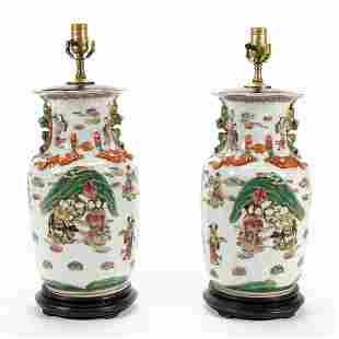 PAIR OF CHINESE VASIFORM LAMPS, WITH FIGURAL SCENE