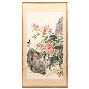 FRAMED CHINESE SCROLL WITH FLORALS IN LANDSCAPE