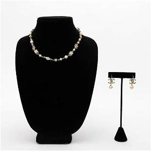 3PC CHANEL GOLD & PEARL NECKLACE & EARRINGS