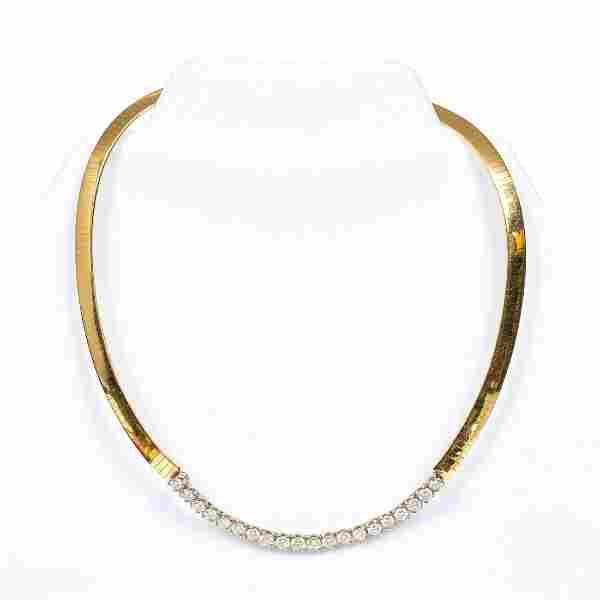 14K YELLOW GOLD OMEGA & DIAMOND NECKLACE