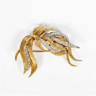 KUTCHINSKY 18K GOLD & 2.75 CTW DIAMOND FEATHER PIN