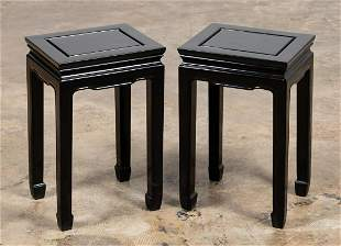 PAIR MID-CENTURY ASIAN FORM BLACK SIDE TABLES