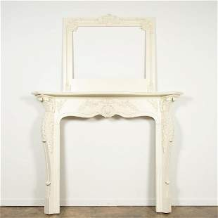 LOUIS XV STYLE PAINTED MANTEL & OVERMANTLE