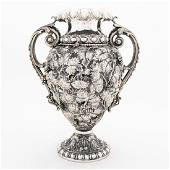 LARGE ITALIAN STERLING REPOUSSE TWO HANDLED VASE