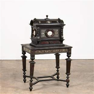19TH C. EBONIZED & INLAID SMALL CASKET ON STAND