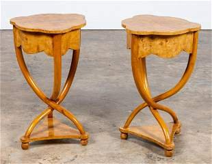 PR., BIEDERMEIER STYLE BURL WOOD OCCASIONAL TABLES